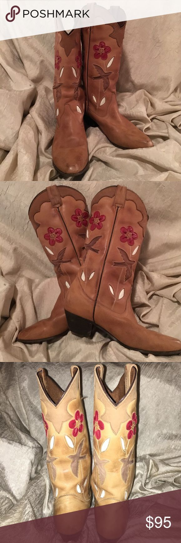 "Oak Tree Farm Western Boots Made in Mexico Oak Tree Farm Western Boots Made in Mexico. Scalloped with Beautiful Red Flowers and Birds in Flight. Shaft measures approx. 13"". Circumference approx. 13. Oak Tree Farms  Shoes Winter & Rain Boots"