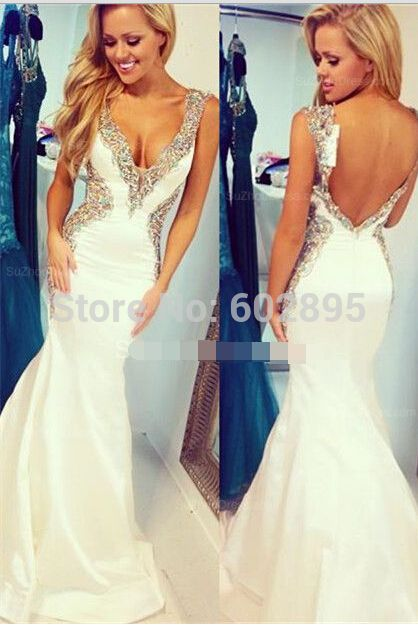 Find More Prom Dresses Information about abendkleider crystal 2015 Deep v neck beaded white mermaid prom dresses open back satin slim long prom formal gown for women,High Quality dress scene,China gown Suppliers, Cheap gown store from youthbridal on Aliexpress.com