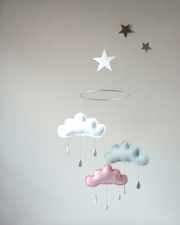 """White,Grey,Light Pink cloud mobile for nursery with silver star """"CHLOE"""" by The Butter Flying-Rain Cloud Mobile Nursery Children Decor. $59.00, via Etsy."""