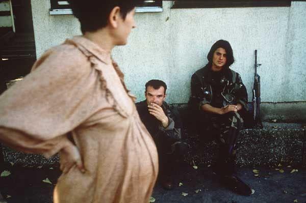 Pregnant woman outside a hospital in Bosnia.