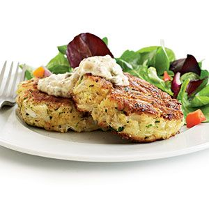 crab cakes (my fav) w/ a healthier twist-- lightly season sweet, premium crab & use just enough mayo, low-sodium panko (Japanese breadcrumbs), & egg to bind it all 2gether. don't add any salt to the mixture, cook cakes in a slick of oil instead of deep-fried.  Tartar-- but overhaul to add more flavor without as much sodium. ­ Pairs perfectly with a crisp salad & glass of wine.