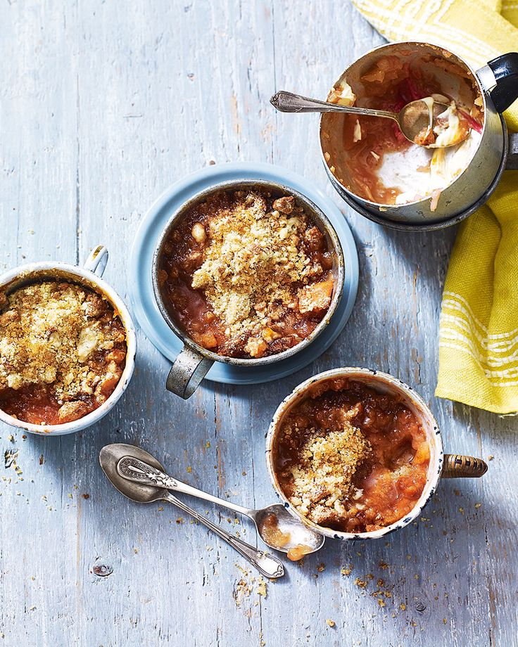 We've given classic rhubarb crumble an Italian twist by adding nutty amaretti biscuits to the golden topping, taking this homely dish from a Sunday lunch pud to a dinner party dessert.