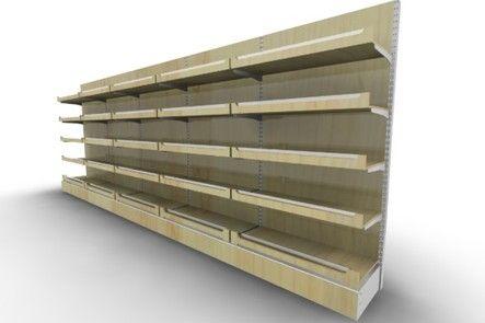 Деревянный стеллаж на основе металличекой стойки Милан - Торговое оборудование от производителя