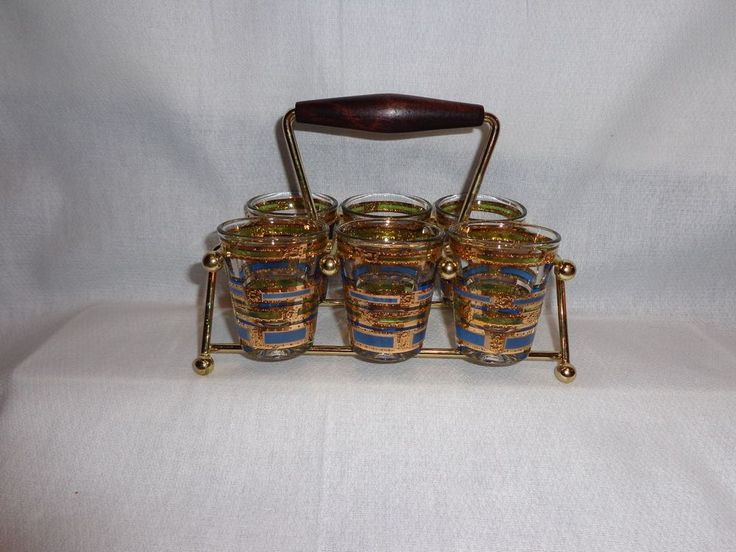 Vintage Glass Culver Empress Mid Century Modern Shot Glasses in Carrier (6)
