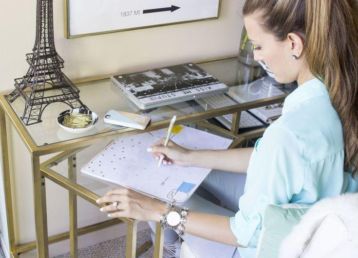 Spray-painted IKEA VITTSJO desk ($39.99) & laptop table ($24.99)