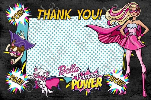 Barbie in Princess Power Birthday Party Invitation FREE thank you card