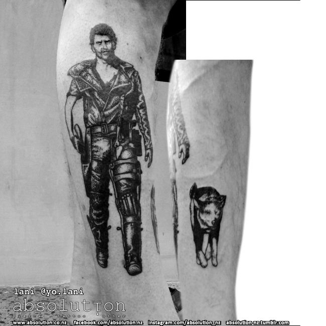 Mad Max and Dog tattoo by our apprentice lani - at absolution in christchurch, nz