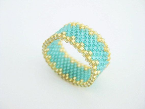 Beaded Peyote Ring Gold Green Seed Bead Beadwork Delica - size 8