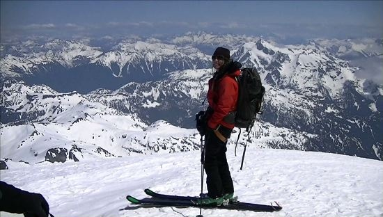 Chris Davenport, Jess McMillan summit & ski Mt. Baker, WA - last of the 15 volcanoes they skied in the PNW in 14 days. #chrisdavenport