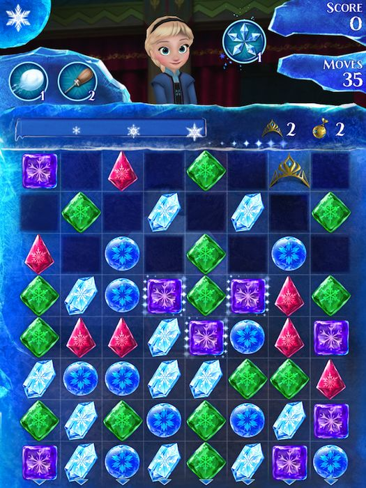 Frozen Free Fall Game, like Candy Crush for kids. Download it + make their day.