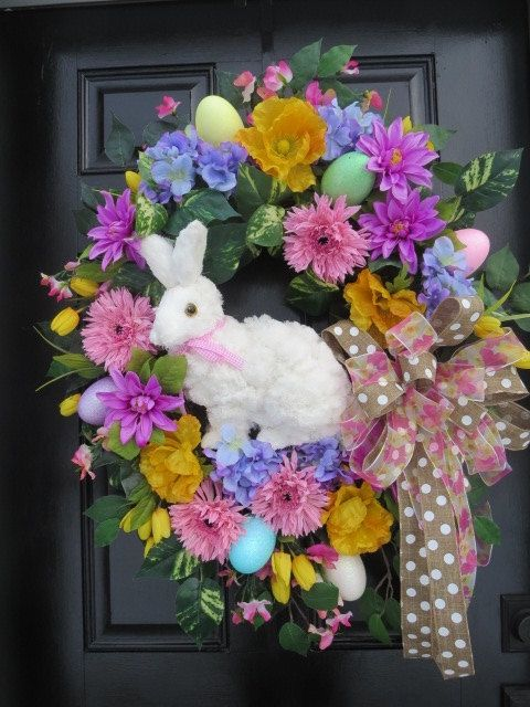 Easter Door Wreath, Easter Bunny Wreath, Easter Spring Wreath, Easter Egg Wreath, Spring Wreath, Large White Easter Bunny, Pastel Colors