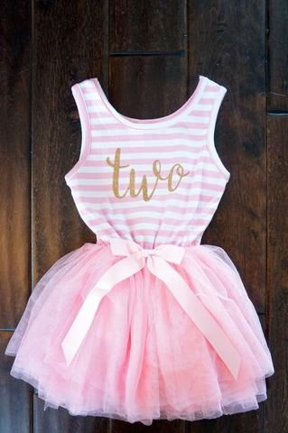 Little Girls Toddler Two 2 year old Birthday Dress - Pink & White Candy Stripe