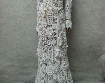 Artículos similares a Único irlandés blanco boda vestido-MIA-a mano de ganchillo en Etsy