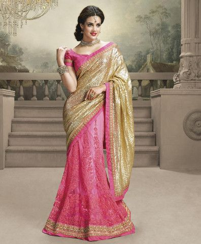 Golden and Pink Color Sequinns Work and Net Designer Sarees : Shehzaadi Collection YF-20622