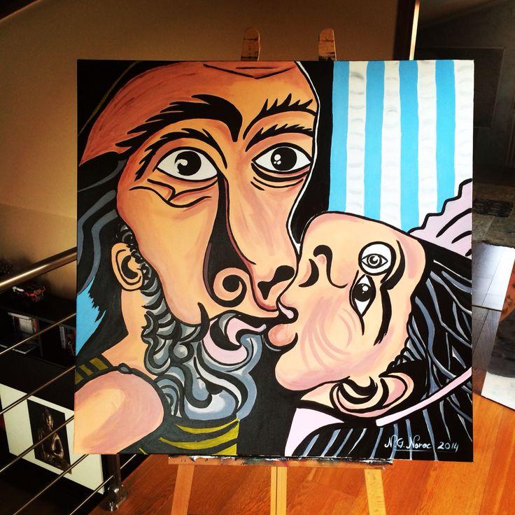 The fake kiss  Acrylic on canvas  100x100