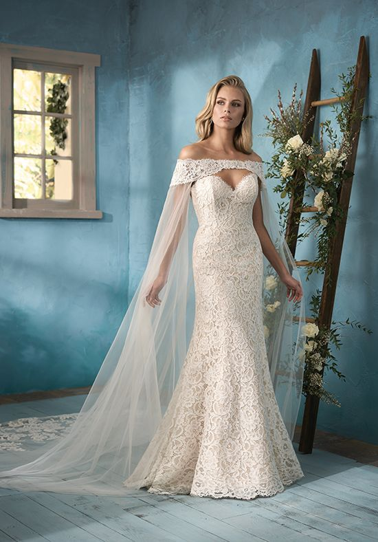 Wedding Dresses  :   Illustration   Description   Flattering fit-and-flare wedding gown with cape | Jasmine Collection f191058 | trib.al/WphqA0p    - #Dress