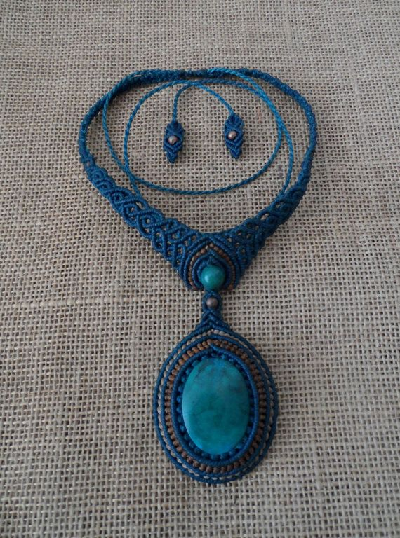 CHRYSOCOLLA Gemstone Macrame Necklace Stone size by LaQuetzal