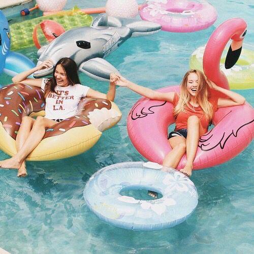 best friends, besties, brunette and blonde, donuts, friends, friendship, goals, happiness, happy, summer, swimming, swimming pool, best friends goals, enjoying summer