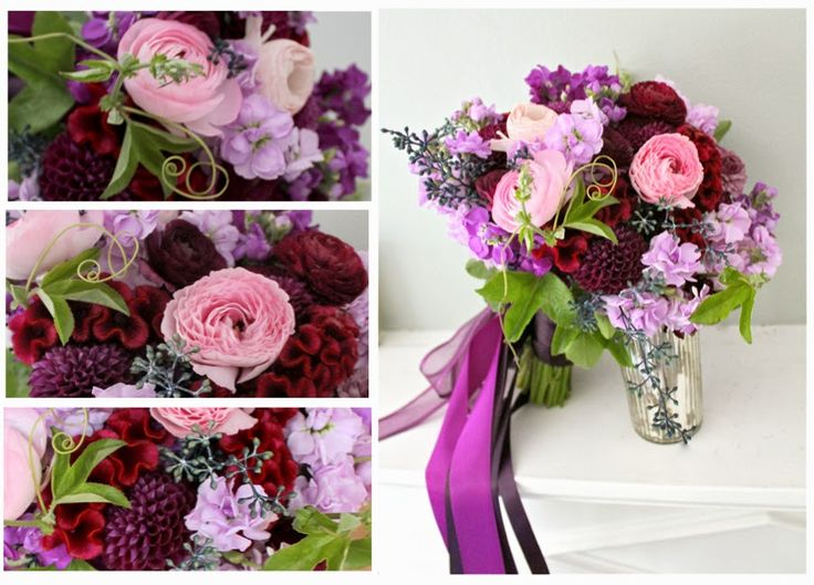 loosely textured blush, burgundy, and purple bouquet for Detroit Wedding by Sweet Pea Floral Design www.sweetpfloral.com with pink ranunculus, passionflower vine, seeded eucalyptus, dahlia, and coxcomb celosia
