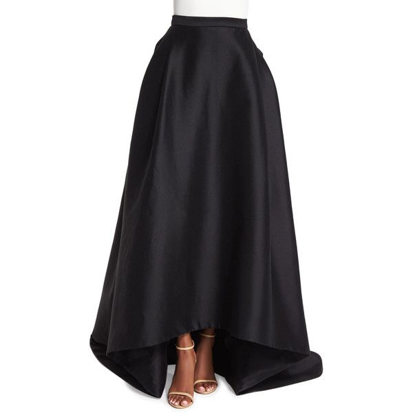 Carolina Herrera High-Low Ball Skirt ($3,180) ❤ liked on Polyvore featuring skirts, black, long black skirt, short in front long in back skirt, ball skirt, black high low maxi skirt and hi low skirt