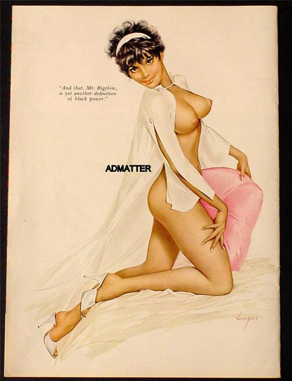 Vintage Alberto Vargas Playboy Magazine Pin-up Girl Poster Topless Beautiful African American Sexy Black