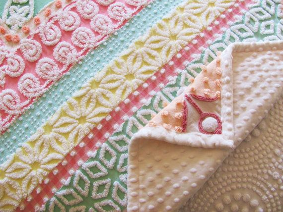 reserved handmade pastel chenille quilt candy chevrons cottage chic geometric quilt 54 x 78 inches 137 cm x 198 cm white minky dot - Chenille Blanket