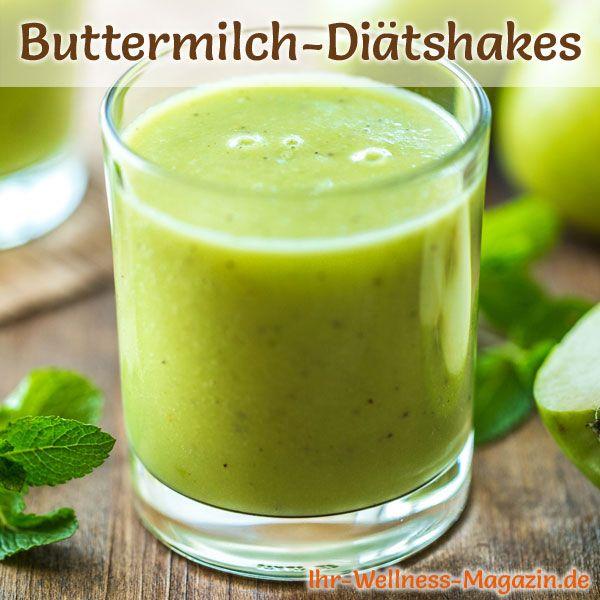 Grüner Buttermilch-Shake mit Spinat - ein Rezept mit viel Eiweiß und wenig Kalorien, perfekt zum Abnehmen, gesund und lecker ...