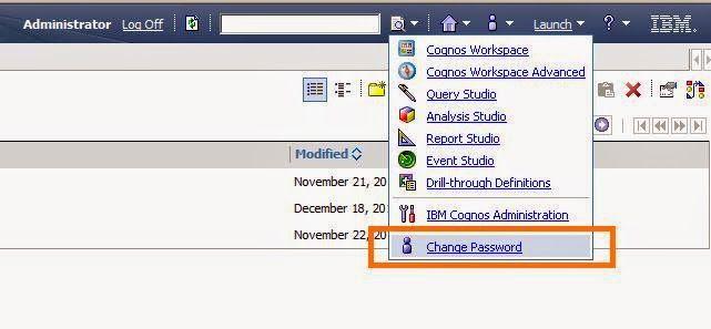 cognos BI change password
