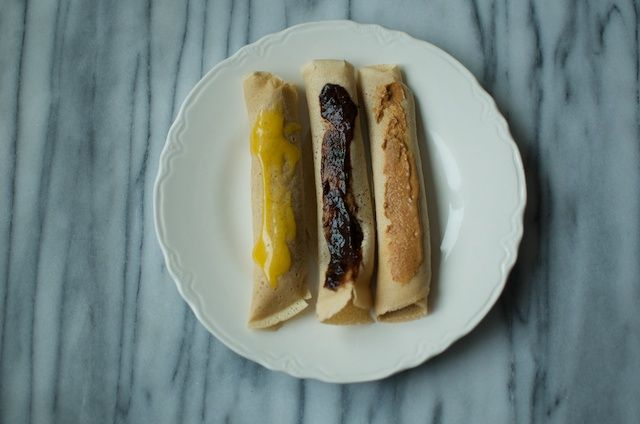 three rolled crepes ~ Whole Wheat crepe recipe from Food in Jars