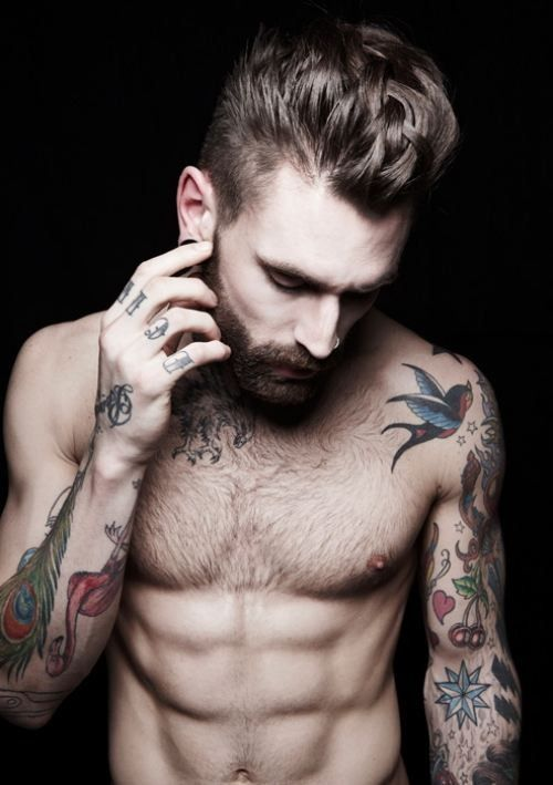 Tattoos? Check. Chest hair? Check. Great hair? Check. Beard? Check. Let's get married.