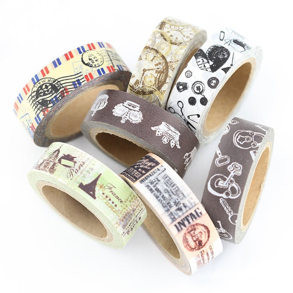 Vintage Style Washi Tape by wishywashitape on Etsy, $2.49