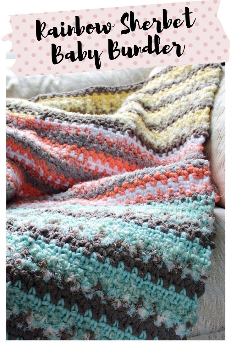 Rainbow Sherbet Baby Bundler   Crochet patterns free blanket ...