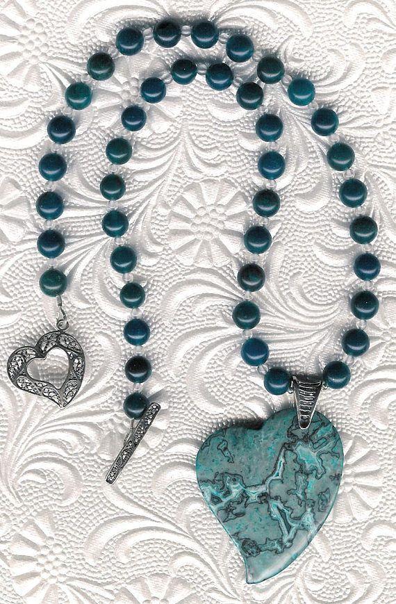 Love is Blue  Leopardskin Jasper Heart Pendant Agate Rock