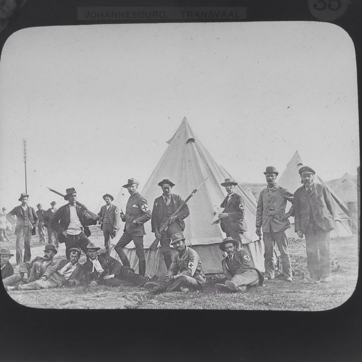 Magic Lantern Slide Transvaal War Soldiers In Camp Uniforms  South Africa