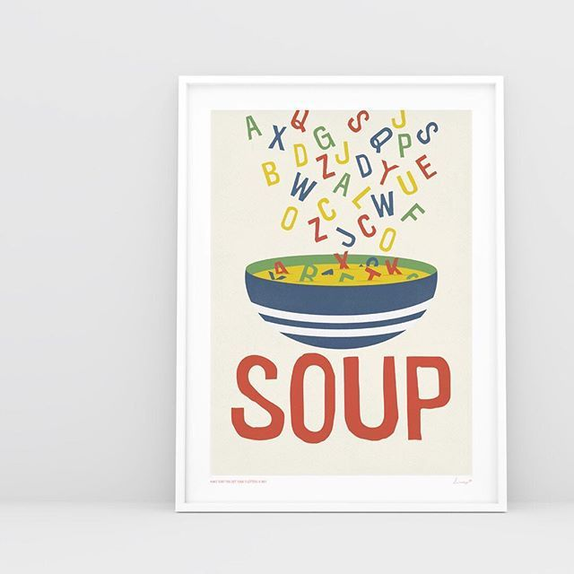 Nearly time for dinner? How about SOUP tonight? One of our fun prints from our kids Small Type range. Other colours available.  . . . . .  #decorhome #decorinspiration #decorlovers #apartmentlife #kidsrooms #interiorinspiration #homestyle #kidsrooms