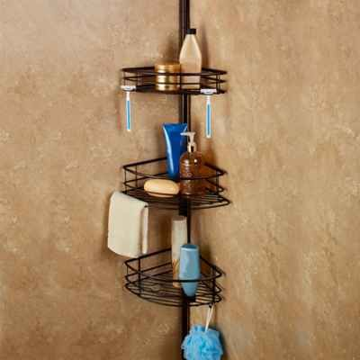 Spa Creations™ Oversized 3 Tier Pole Caddy With Shelves In Matte Bronze