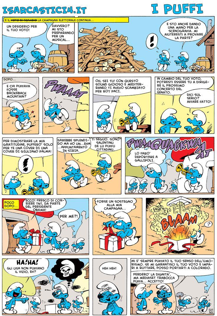 I puffi e le puff-elezioni. pagina 03/06 #ipuffi #satira #SatiraPolitica #isarcastici4 #smurfs #pitufos #peyo #parodia