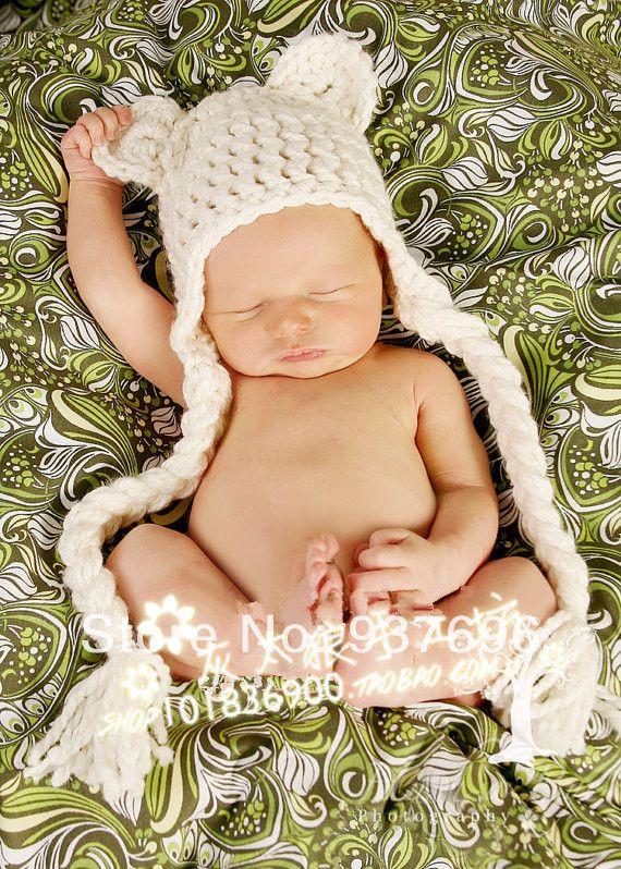 gratis verzending schattige nieuwe stijl met de hand gehaakt babymutsje fotografie rekwisieten pasgeboren hoed