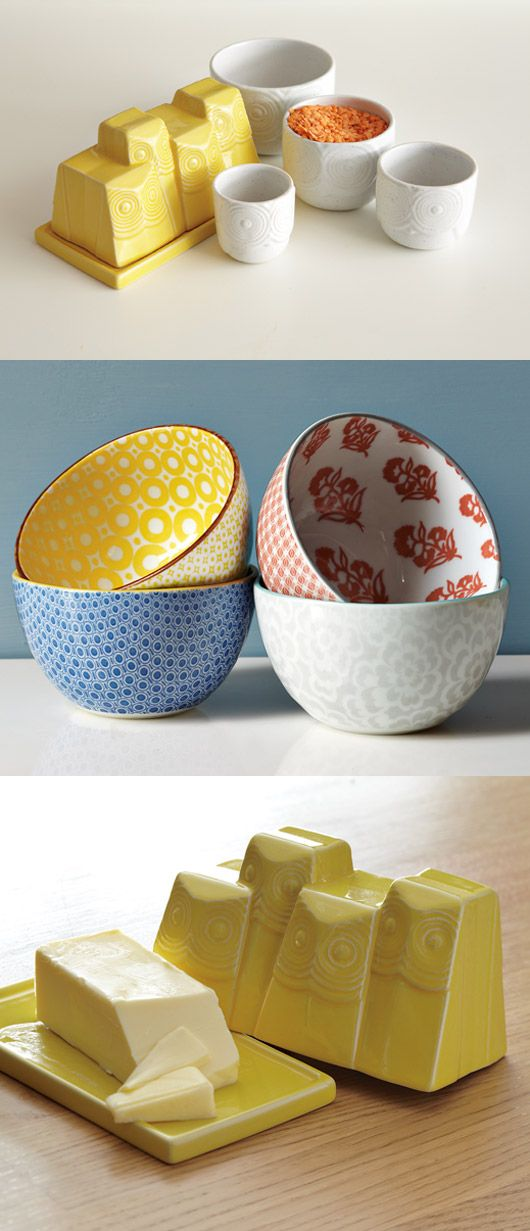 I am in love with the yellow butter dish and measuring cups. I want.