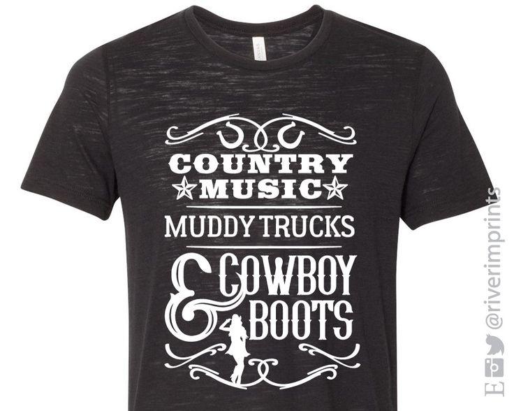 COUNTRY MUSIC, MUDDY TRUCKS & COWBOY BOOTS Graphic Slub Tee