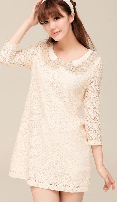 Korean retro lapel lace dress
