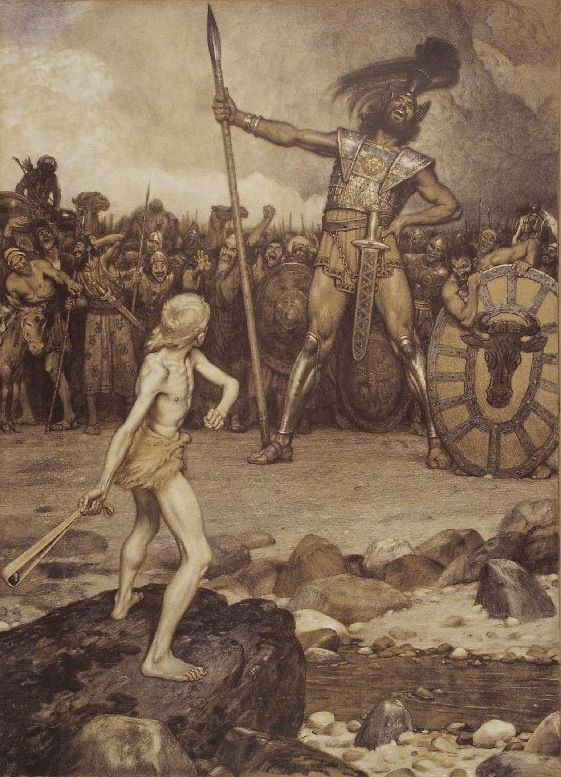 Goliath of Gath (one of five city states of the Philistines) was a giant Philistine warrior defeated by the young David, the future king of Israel, in the Bible's Books of Samuel (1 Samuel 17).