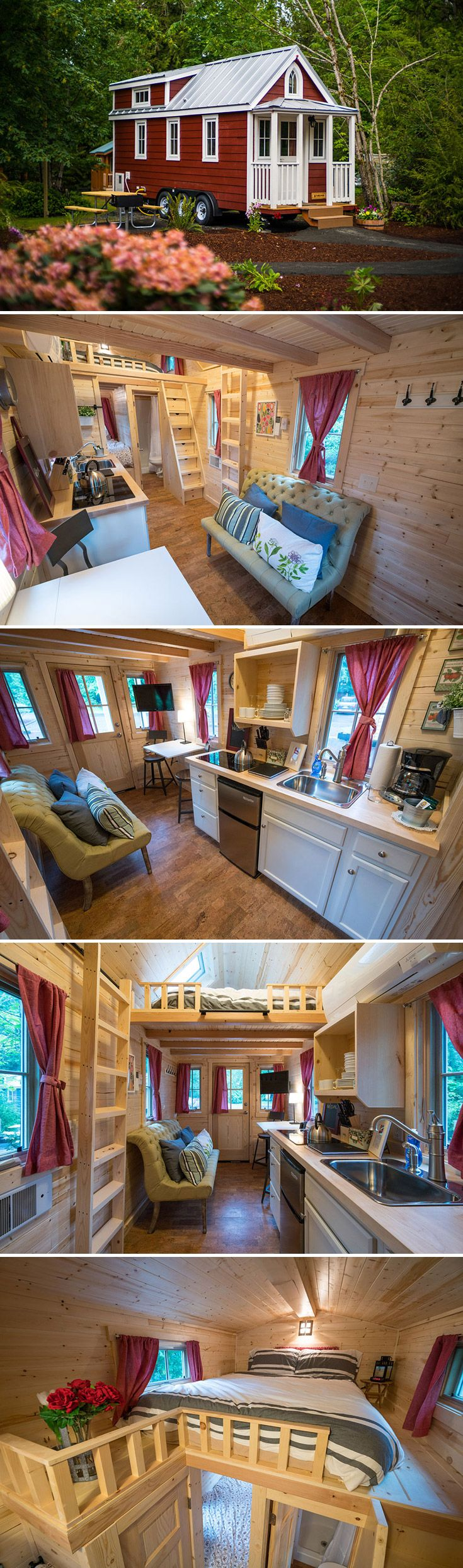This 233 sq.ft. tiny house is based on the Elm design by Tumbleweed Tiny House Company.  Available for rent an hour outside of Portland, Oregon.