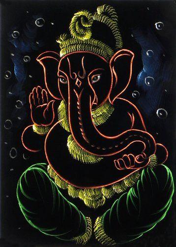"Dolls Of India ""Lord Ganesha"" Painting On Velvet Cloth - Unframed (68.58 X 50.80 Centimeters)"
