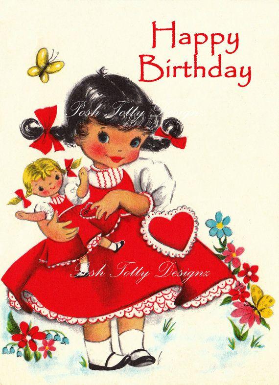 Happy Birthday Hi Valentine Vintage Digital by poshtottydesignz