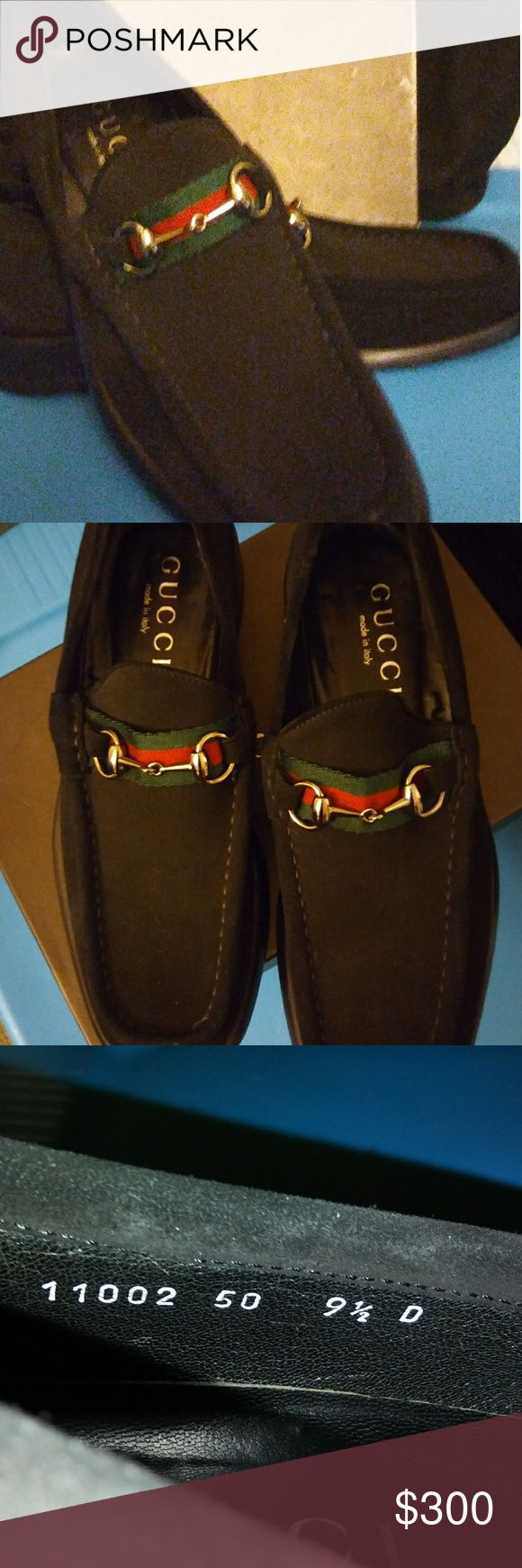 Black Suade classic horsbit  loaferl Suade classic horsebit loafer with green and red on horsebit. I had bottom of sole to cobbler to paint botton so if you kneel down at church they show now wear. Size9 1/2. Im looking for mens burberry shirts in size M Longsleeve M. Im willing to trade. Gucci Shoes Flats & Loafers