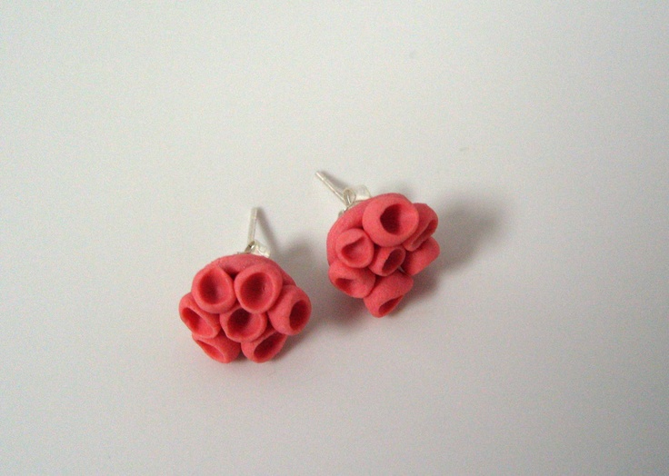 Cellular Earrings Red - LauraBeth Designs