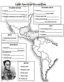 A fantastic drawing of the Western Hemisphere becomes a graphic organizer for a powerpoint of notes on Latin American Revolutions. Common core and state standard topics include Simon Bolivar, the Monroe Doctrine, Toissaint L'Ouvture, the Colonial System, and Mexico's independence.