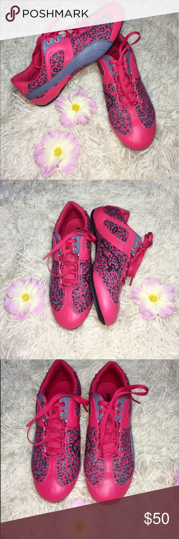 NEW! Hot Pink Cheetah Puma Sneakers Size 6.5 Grab these bright and bold hot pink Puma sneakers. They are brand new and in a size 6.5. Cool pairing with a gym outfit or nice pop of color for a casual night on the town. Puma Shoes Sneakers