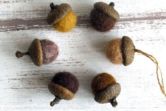 Acorn ornaments Felted wool acorns Natural colored by myfairydoll
